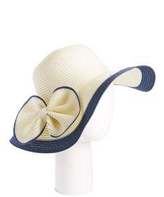 Look at this #zulilyfind! White & Navy Bow-Accent Straw Sunhat #zulilyfinds