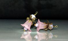 2 Pale Pink Tulip Flower & Brass/Bronze Vintage Style Bead Dangles or Earrings - 15mm Frost Acrylic Flower Possibilities by goldcountrydangles on Etsy