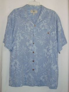 ISLAND-SHORES-Blue-Hawaiian-100-Silk-Jacquard-Mens-Camp-Shirt-Sz-L