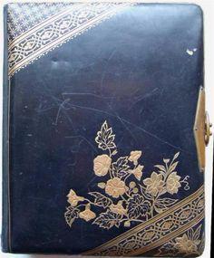 1880s-Victorian-Photograph-Album-47-photos-Handpainted-Silk-Greeting-Card