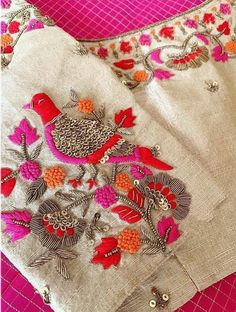 Hand Embroidery Dress, Embroidery Neck Designs, Embroidery Suits Design, Embroidery Motifs, Beaded Embroidery, Zardosi Embroidery, Embroidery Fashion, Embroidery Blouses, Cutwork Blouse Designs