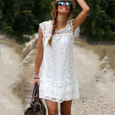 2015 Hot Sexy de encaje de algodón blanco Vestido de mujeres Vestido señora Crochet transparente sin mangas verano Mini Vestido corto Vestido Vestido de renda
