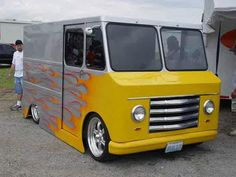 Flames are a nice touch Jeep Truck, Chevy Trucks, Cubes, Commercial Van, Step Van, Vanz, Mini Bus, Panel Truck, Van For Sale