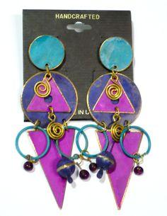 Big Patina metal brass Dangle long  earrings by ToBeUniqueJewelrys, $32.99