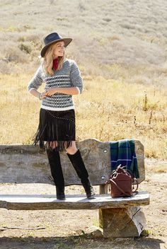 Put a little swing in your step — or at least on your skirt — because nothing's hotter than fringe. Anchor the swish with a graphic piece that keeps the look modern. Sweater, Foxiedox, $92, pacsun.com; Skirt, $77, oasis-stores.com; Hat, Ále by Alessandra, $168, freepeople.com; Bandanna, $7, ae.com; Ring, $49, silpada.com; Bracelets, $65 and $55, rjgraziano.com; Boots, $199, guess.com; Bag, $249, pendleton-usa.com; Blanket, $159, kaufmann-mercantile.com.  - GoodHousekeeping.com