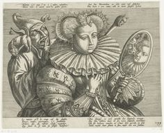 """anonymous Netherlandish engraver, c.1600. Rijksmuseum, RP-P-OB-77.716 Of the bilingual French/Dutch text, it is the Dutch that is the more informative. The quatrain (lower right) in trans: """"The mirror is truly the Devil's arsehole. She who sets her ruff in it becomes the Devil's hostess... She thinks she is seeing herself but it is a fool she is really looking at"""" AND ADVERTISING MY """"ARTISTS PLAYING WITH MIRRORS"""" BOARD"""