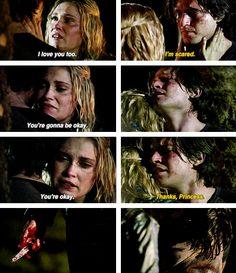 Clarke e Finn; THE 100; ok, lo ammmetto io non sono una flarke, a me non piace finn ma questa parte mi ha fatto piangere...
