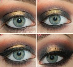 Christmas Beauty Tutorial: Glittery Gold Makeup and Modern Chic Updo   Fashion Trends, Makeup Tutorials, Hairstyles and Style Secrets