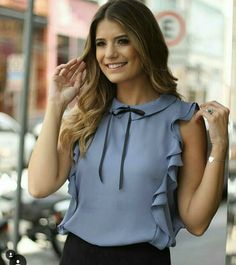 professional outfit for spring-summer. Mein Style, Bow Blouse, Sleeveless Blouse, Outfit Trends, Glamour, Professional Outfits, Office Outfits, Corsage, Fashion Outfits