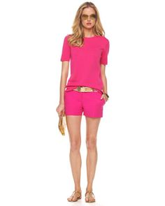 OMG!!!!!!!!!!!!!!!!!!!!!!!!!! I would give my kidney for this outfit! Michael Kors Cashmere Crew Tee & Mini Shorts.