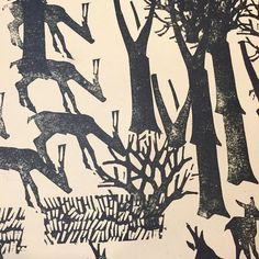 Deer Axel Salto Detail from a 1943 Danish children's book, a large folio edition of cuts, influenced by the art of prehistory, and possibly the children's books of Lebedev of a decade earlier. Prehistory, Wood Engraving, Printmaking, Most Beautiful Pictures, Childrens Books, Deer, Danish, Landscape, Illustration