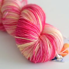 Fingering Hand Dyed Yarn - Superwash British Falkland Merino / Nylon - 465 yards - Snapdragon in Fucsia and Yellow via Etsy