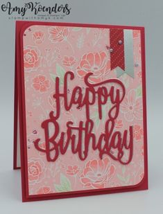 Stampin' Up! Perennial Birthday with Happy Birthday Thinlits Die Card – Stamp With Amy K Happy Birthday Cards, Birthday Greetings, Happy Birthday Gorgeous, Hand Stamped Cards, Some Cards, Tampons, Baby Cards, Greeting Cards Handmade, Stampin Up Cards