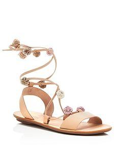 $Loeffler Randall Saskia Lace Up Pom Pom Flat Sandals - Bloomingdale's