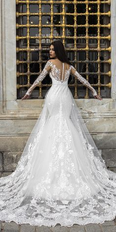 pollardi wedding dresses mermaid with illusion sleeves buttons unique back