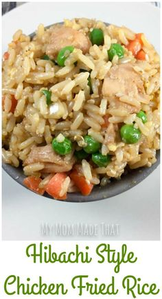 Love Hibachi Style Fried Rice? Make it at home-- it's so easy, serves an army and this hibachi style chicken fried rice recipe will be just as yummy!