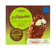 Tesco 3 Pistachio Ice Creams covered with chocolate sauce coated in Belgian milk chocolate with pistachio pieces Pistachio Ice Cream, Frozen, Milk, Chocolate, Kitchen, Desserts, Recipes, Food, Tailgate Desserts