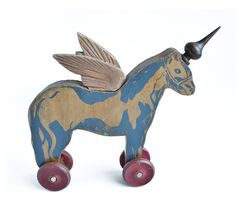 primitive unicorn folk art unicorn white by ElizabethRosenArt