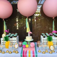 Pretty pineapples and pink flamingo birthday party! See more party ideas at CatchMyParty.com!