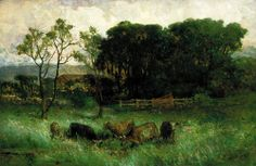 """Untitled (five cows in pasture), Edward Mitchell Bannister, ca. 1884-1886, oil on canvas,:40 x 59 7/8"""", Smithsonian American Art Museum."""