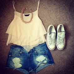 Summer Outfit - Ripped Shorts - Flowy Crop Top - Converse