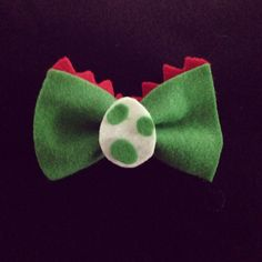 Super Mario Bros Yoshi Inspired Bow- Felt Hair Bow or Clip On Bow Tie by MCSweetPeas on Etsy