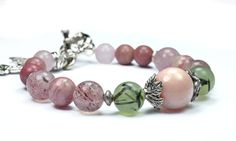 Love Bracelet...Heart Chakra Bracelet with Genuine Pink Opal, Prehnite, Strawberry Quartz, Rhodocrosite, Rhodonite and Rose Quartz.