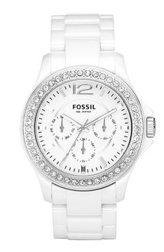 White ceramic Fossil watch.