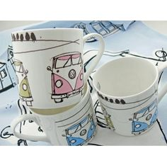 £8.00 VW Camper Van Mugs. Made in Staffordshire and decorated with these funky colours, these VW Camper Van mugs are a standard size but beautifully made, and a cool alternative to the more robust styles out there in VW world.
