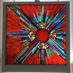This would make a great quilted wall hanging design.Crimson Sunburst - Glass on glass mosaic on a recycled window, using a red saucer and cabs. Mosaic Artwork, Mosaic Wall Art, Tile Art, Mosaic Mirrors, Tiles, Fused Glass Art, Glass Wall Art, Mosaic Glass, Glass Walls