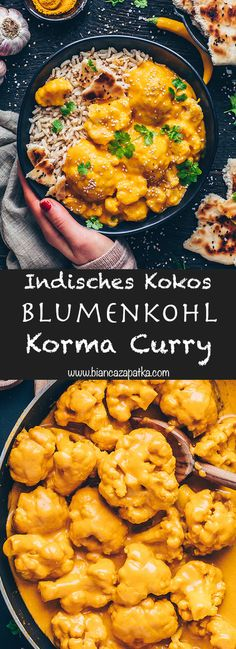 This easy Indian cauliflower coconut butter korma is a delicious vegan, gluten-free curry that can be made in one-pot in only 30 minutes! Serve this healthy coconut korma sauce with rice, quinoa, pota Healthy Muffin Recipes, Clean Eating Recipes, Vegetarian Recipes, Coconut Curry Vegan, Vegan Curry, Indian Cauliflower, Cauliflower Recipes, Korma Sauce, Rice Recipes For Dinner