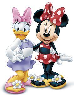 Disney's Daisy & Minnie:) Disney Micky Maus, Mickey Mouse Cartoon, Mickey Mouse And Friends, Minnie Mouse Party, Retro Disney, Cute Disney, Disney Art, Mickey Mouse Wallpaper, Disney Wallpaper