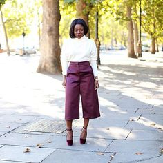 These 5 Outfits Will Make You Want To Buy A Pair Of Culottes NOW #refinery29  http://www.refinery29.com/how-to-wear-culottes#slide3  It's never too early to get started on your holiday wardrobe — and Fisayo Longe found the perfect satin culottes for all your festivities.