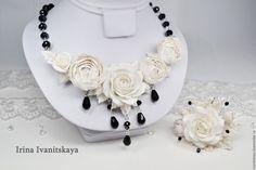 """Купить Комплект """"Крем Брюле"""" - белый, полимерная глина, фимо, пластика, цветы из полимерной глины"""