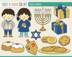 Hanukkah Clip Art - color and outlines