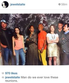 Screenshot from Jewel Staite's Instagram: Firefly reunion at Dallas Comic Con 2014!! [But missing Alan and Morena :( ]