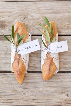 Bread place cards: http://www.stylemepretty.com/california-weddings/santa-barbara/2015/05/01/elegant-santa-barbara-wine-country-elopement/ | Photography: Anna J - http://www.annaj-photo.com/