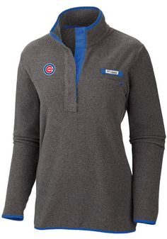 Columbia Chicago Cubs Womens Harborside Grey 1/4 Zip Pullover