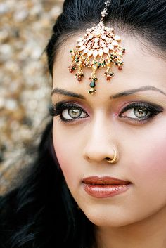Eye color is an inherited trait influenced by more than one gene. These genes are sought using associations to small changes in the genes themselves and in neighboring genes. Beautiful Indian bride. #Photographer: fakeyouth #wedding www.goachi.com