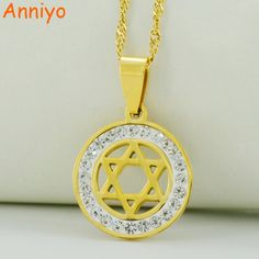 Anniyo Jewish Star Necklaces for Women Star of David Pendant Chain,Hexagram Jewelry The gift of the Israelites #002208