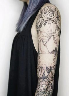 Mountain and floral black & white sleeve tattoo #TattooIdeasFlower
