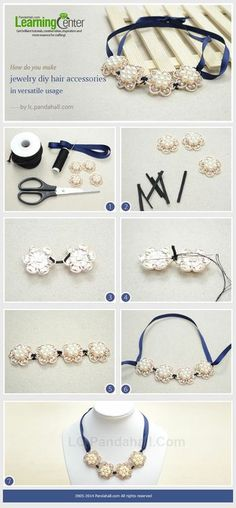 Easy Tutorial on Making Necklaces with Navy Blue Satin Ribbon and Acrylic Rhinestone Beads | PandaHall Beads Jewelry Blog