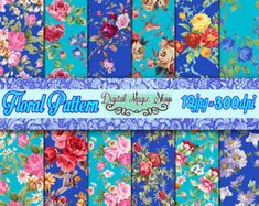 French Flowers Digital Paper Bordeaux and от DigitalMagicShop