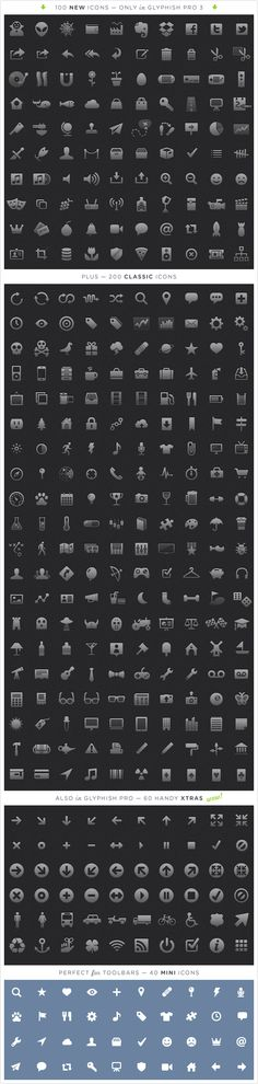 glyphish.com - 400 amazing icons for iPhone and iPad, including 60 xtras and 40 mini icons. #icons