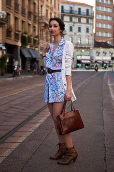 White Cardigan / Printed Dress / Brown Booties
