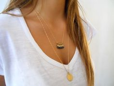 Layered Gold Necklace Set Coin & Black Beads by annikabella