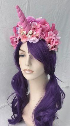 sparkly pink baby unicorn pink light purple roses headband