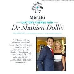 Prof Ceccarelli truly embodies a wealth of knowledge. His willingness to share his intricate understanding on the depths of the physiology for the betterment of our education is both commendable and much appreciated! Dr Shahien Dollie For more information visit our website www.merakiskincompany.com or contact us at hello@merakiskincompany.com #MerakiSkinCompany #Meraki #ProfCeccarelli Meraki, Physiology, Wealth, Appreciation, Knowledge, Good Things, Education, Website, Inspiration