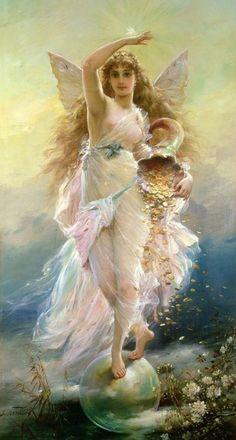 vintage angel / fairy  Hans Zatzka aka Joseph Bernard  1906