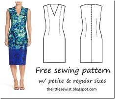 V neck basic sheath dress pattern Summer Dress Patterns, Dress Sewing Patterns, Clothing Patterns, Easy Sew Dress, Diy Dress, Tutorial Sewing, Altering Clothes, Straight Dress, Pattern Ideas